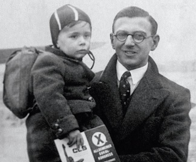 Sir Nicholas Winton death. Undated family handout picture of Nicholas Winton who organised the rescue of Jewish children from the Holocaust in 1939, has died aged 106, his family said. Issue date: Wednesday July 1, 2015. Sir Nicholas with one of the children he rescued. See PA story DEATH Winton. Photo credit should read: PA Wire URN:23445558